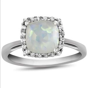 10K White Gold Opal Topaz Ring Halo 6 Cushion
